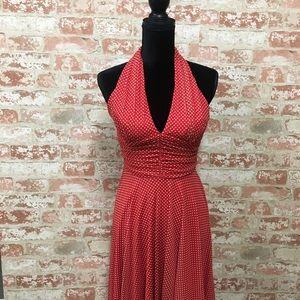 Retro style polka dot halter dress